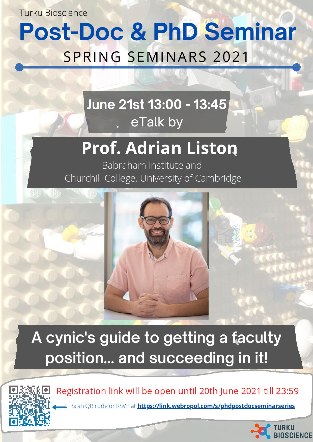 Online seminar by Professor Adrian Liston